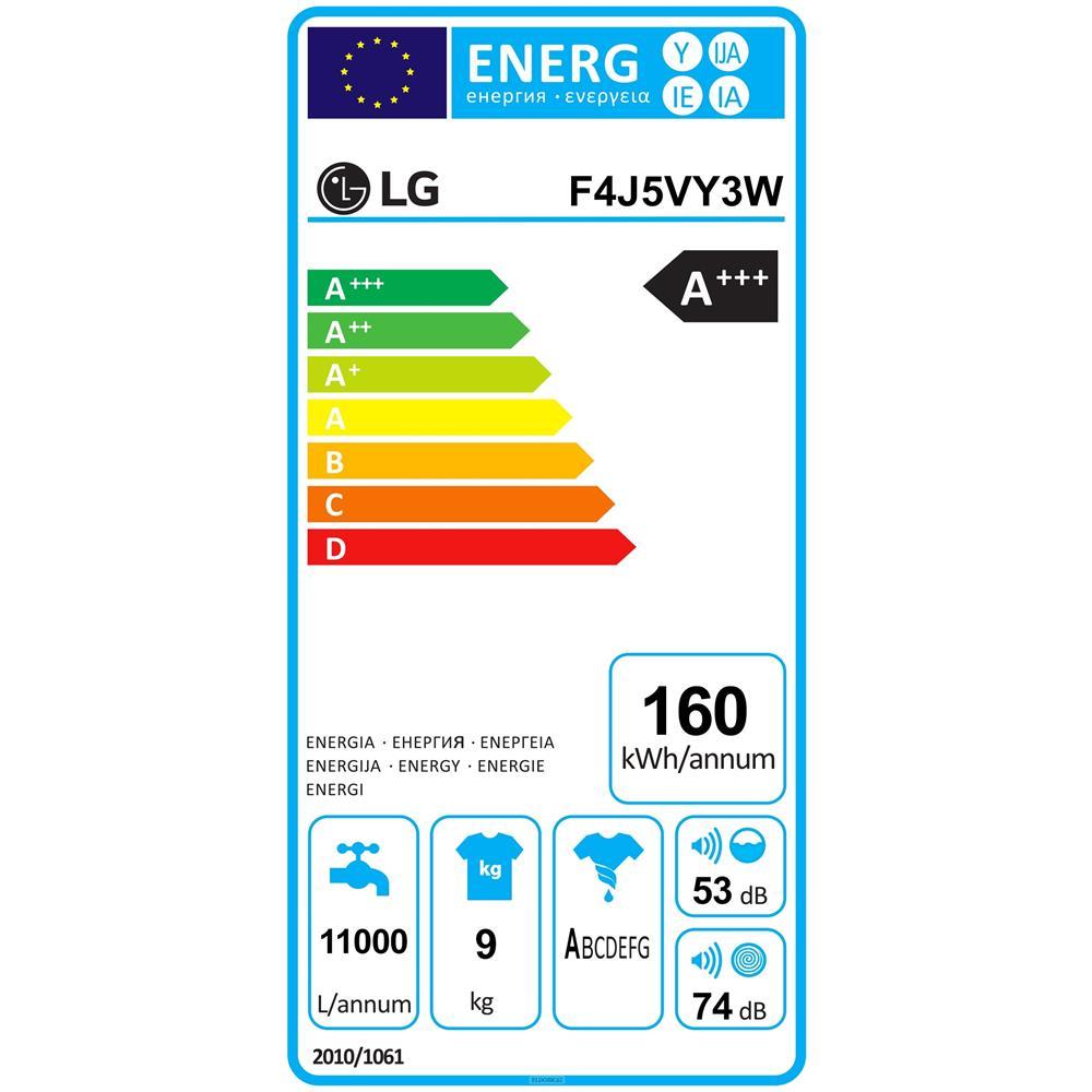LG Lavatrice Standard F4J5VY3W 6 Motion 9 Kg Classe A+++ -20% Centrifuga 1400 giri
