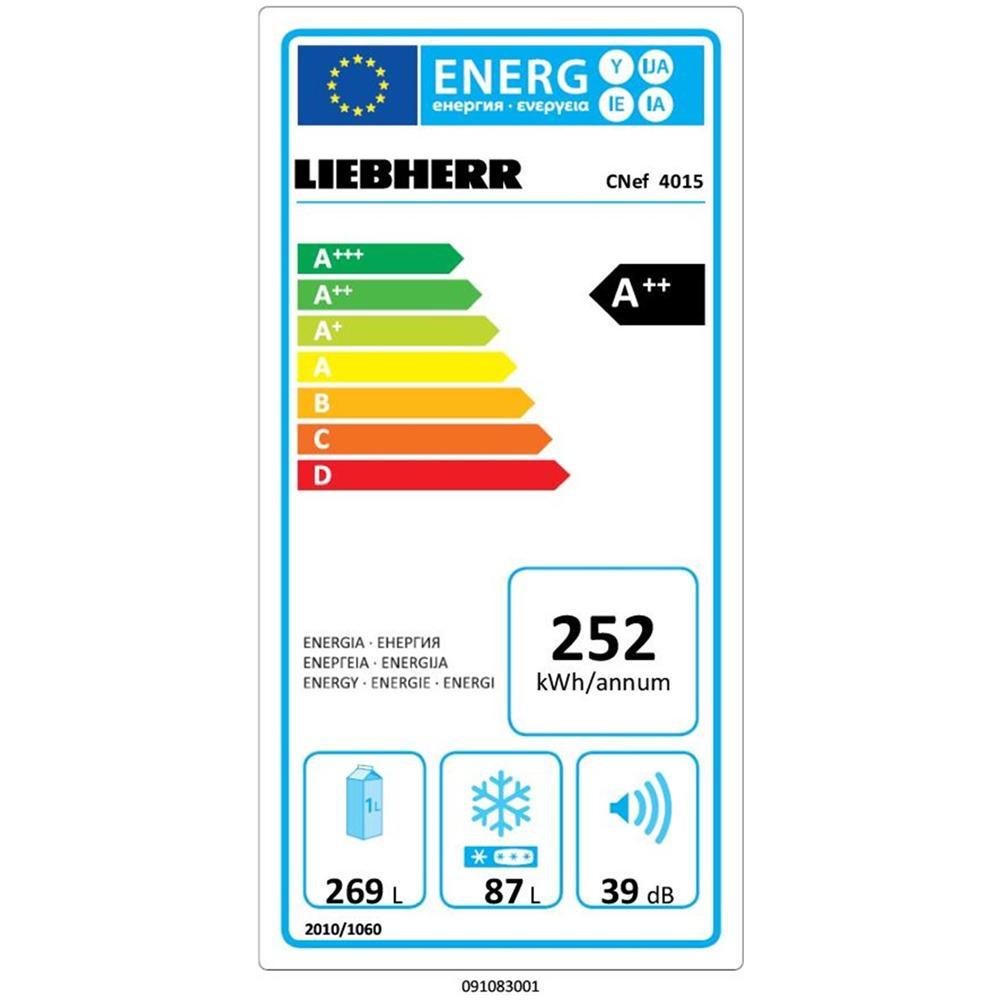 Frigorifero Combinato LIEBHERR  CNEF 4015 Comfort No Frost Classe Energetica A++ Capacità Lorda / Netta 390/356 Litri Colore Argento
